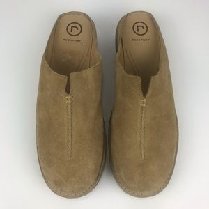 ROCKPORT Womens Tan Suede Leather Slip On Mules 9W